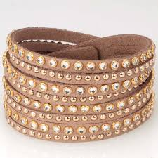 double wrap bracelet images Double wrap leather bracelet with metal rivet crystal bling jpg