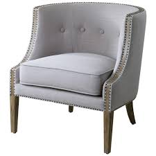 Classic Armchairs Lyla Modern Classic Soft Grey Hammered Barrel Back Chair Kathy