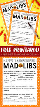 thanksgiving mad libs printable happiness is