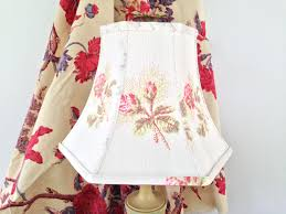 vintage rose bud fabric lamp shade hex bell lampshade