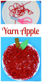 yarn apple craft for kids about a mom