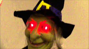 halloween hanging witch glowing red eyes youtube