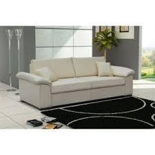 canapé lit en cuir design canapé convertible cuir pu 3 places dolce blanc