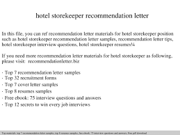 hotel storekeeper recommendation letter documents