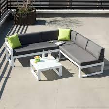canape jardin aluminium salon bas de jardin composé de 1 canapé de jardin 3 places 1 banc