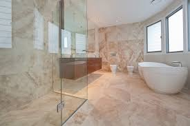 bathroom travertine vs porcelain travertine bathroom