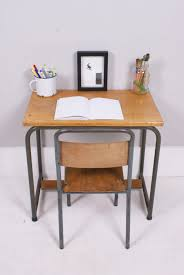 children u0027s vintage french desk table with metal legs blue ticking