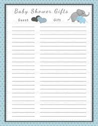 baby shower gift list template u2013 8 free word excel pdf format