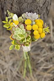 Billy Balls Gray Succulent Yellows Billy Balls And White Roses Wedding Bouquet