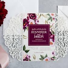 floral wedding invitations classic boho burgundy watercolor floral garden wedding invitation