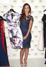 lucy watson wears in blue lace pencil dress at lipsy u0027s vip range