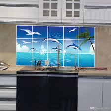 Ocean Home Decor by Waterproof Bathroom Kitchen Tile Aluminum Foil Wall Sticker Home