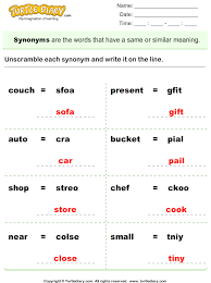 unscramble each synonym worksheet turtle diary