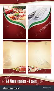 pages menu template a4 4 pages menu template italian stock photo 92210329