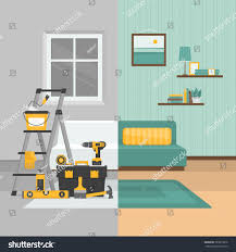 home interior vector room before after repair home interior stock vector 583015876