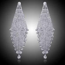 rhinestone chandelier earrings luxury bridal silver color clear rhinestone earrings wedding party