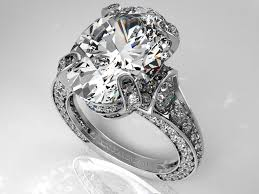 big vintage rings images Engagement ring large oval diamond cathedral graduated pave jpg