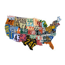 Home Decor Wall Signs by Amazon Com Plasma Cut Steel Usa License Plate Map 35