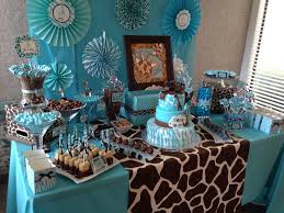 interior design view wild safari blue baby shower decoration
