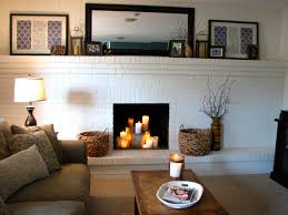painted brick fireplace with white color paint of brick stone