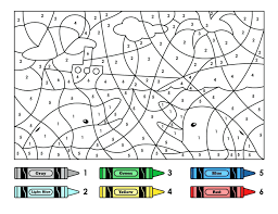 coloring pages color by number worksheets free color by number