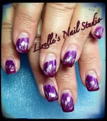 wine silver u0026 purple design hand painted nail art sculpted gel