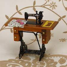 amazon com vintage miniature dollhouse sewing machine with cloth