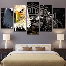 panel wall art print on canvas harley davidson bar and shield
