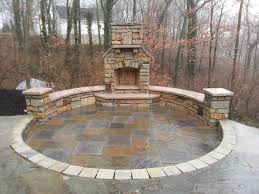 Brick Patio Pavers by Paver Patio Natural Stone Seating Wall Outdoor Fireplace
