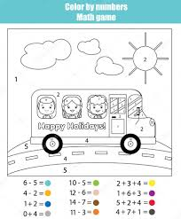 coloring page with kids in bus color by numbers math game