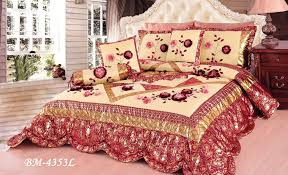 tache 6 piece red rose garden patchwork luxury floral comforter