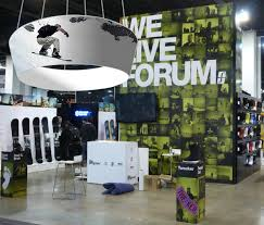 tapered design hanging overhead trade show graphics
