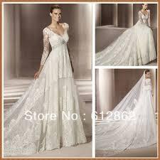 long train empire waist long sleeve lace wedding dresses for