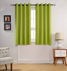 Green Curtains For Nursery Mysky Home Solid Grommet Top Thermal Insulated Window
