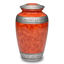 cremation urns for adults affordable alloy cremation urn in beautiful rust orange a