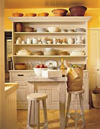 rustic hutch with stylish open shelves for cottage kitchen