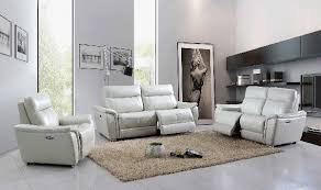 Gray Living Room Set Power Reclining 1705 Living Room Set In Gray Leather