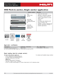 Correct Table Setting by Technical Data Sheet For Hkd Push In Anchor Single Application