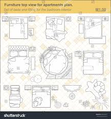 set furniture bedroom top view layout stock vector 560416435