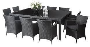 Manila  Seater Outdoor Dining Furniture Outdoor Dining - Black dining table for 10