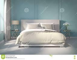 Blaues Schlafzimmer Klassisches Blaues Schlafzimmer Mit Weißem Boden Stock Abbildung