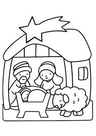 Coloriage Noel Crèche Et Etoile De Jésus