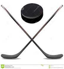 ice hockey sticks and puck is an illustration of two crossed ice