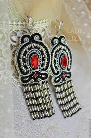 soutache earrings buy soutache earrings chic earrings with fringe black silver