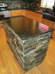 kitchen island after granite and slate tile installation
