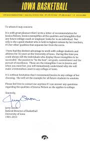 example of college recommendation letter from coach