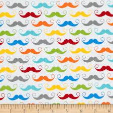 Mustache Home Decor by Riley Blake Geekly Chic Mustache White Discount Designer Fabric