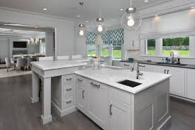 Kitchen With L Shaped Island Gray L Kitchen Island With Marble Countertops 9155