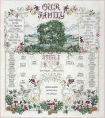 family tree cross stitch kit by the historical sler company