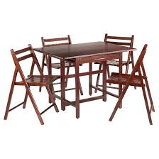 Drop Leaf Table And Folding Chairs Taylor 5 Piece Set Drop Leaf Table With Folding Chairs Walnut